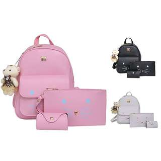 PU 3 in 1 Cat Fashion Casual Backpack Shoulder School Bag Clutch Beg