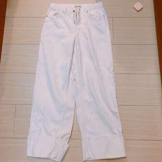 (二手)zara白色牛仔寬褲捲邊