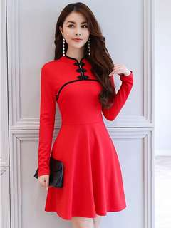 Formal: Red Frog Buttons Long Sleeve Slim Dress (S / M / L / XL) - OA/KKD080404