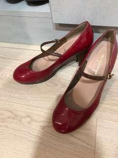 紅色漆皮低跟高跟鞋 日本製
