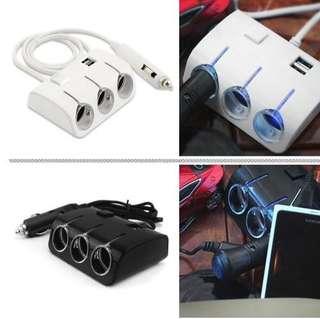 Universal Car Cigarette Lighter Sockets Adaptor With Dual USB Ports
