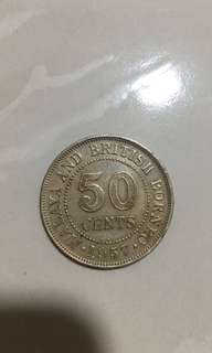 Singapore 50c old coin 1957 H