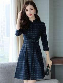 Office: Autumn High Waist Slim Houndstooth A-Line Dress (S / M / L / XL / 2XL) - OA/DZD072203