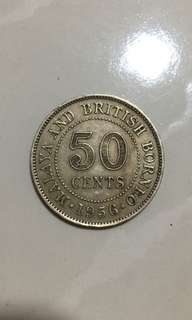 Singapore 50c old coin 1956