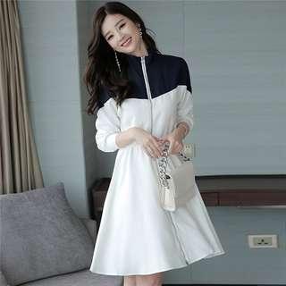 Casual: Modern Color Block Zipper Open Tying Waist Long Dress (S / M / L / XL / 2XL) - OA/DZD072202