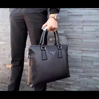 Prada Men's Briefcase Leather Black