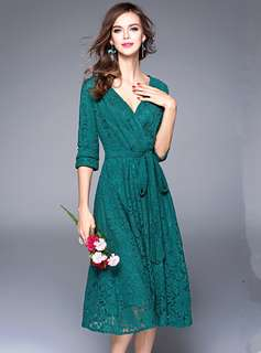 Casual: Green Fashion Tying Waist V-Neck Lace Dress (S / M / L / XL / 2XL) - OA/MKD040129