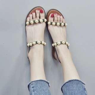 夏天珍珠羅馬涼鞋