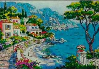 繪畫-地中海海岸花園的風景(A3尺寸)