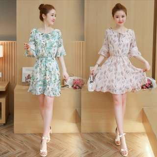 A medium skirt with a slim fit Middle sleeve chiffon dress floral dress