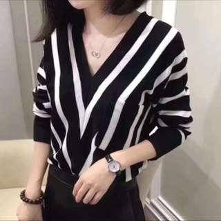 🚚 黑白條紋針織上衣