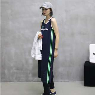 VM 原創 2018新款 休閒運動風 小心機復古 顯瘦長版背心裙