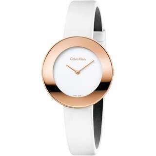 CHIC WHITE DIAL WHITE LEATHER STRAP ROSE GOLD CASE LADIES' WATCH  K7N236K2