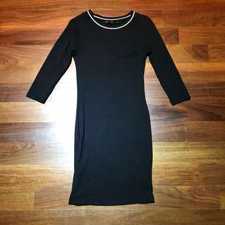 New look jersey black bodycon dress with white collar uk8