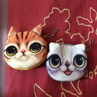 Brand New Cat Face Coin Pouch with Felt Surface Grey or Orange