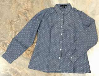 Forever 21 Denim Shirt with Anchor Prints