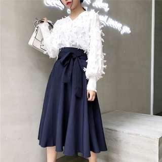 Korean Fashion High Waist Maxi Skirt Women A-line Skirts