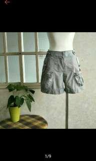 miamia 條紋休閒前后多口袋短褲