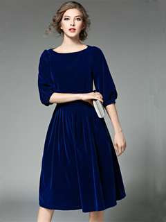 Formal: Blue High Quality Fitted Waist Pleated A-Line Velvet Dress (S / M / L / XL) - OA/HYC122329