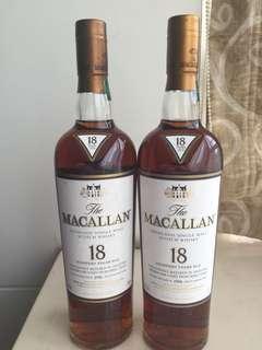 Macallan 18年 (1996 )冇盒 日版/左手邊 如圖($2,980)台版/右手邊 如圖 ($2,930)