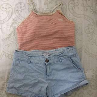 Stripes tankini and denim shorts combo (beach outfit)