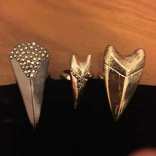Set of 3 Tribal Tooth Rings