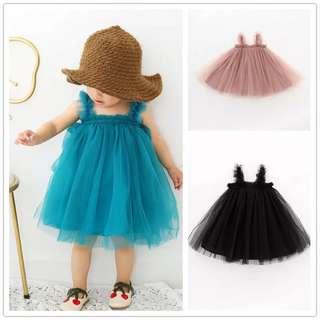 《預購》女寶寶夏季吊帶網紗連身裙夏季女童吊帶露背公主裙