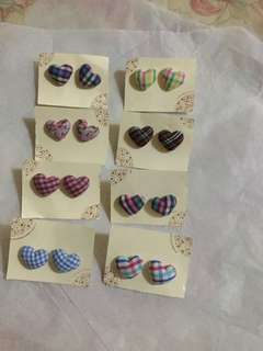 Fabric heart ear studs earrings checked