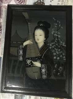 Vintage Oriental Reverse Painting on Glass
