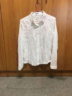 🚚 出清 近全新 雕花薄款 白襯衫