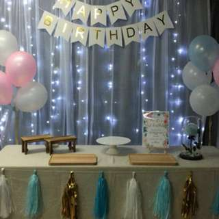 Dessert table rental items- Wooden tray // bunting banner // tassel deco // table cloth