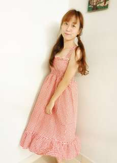 Caryn Summer Lattice Dress Comes in Free Size, (black checkered, red checkered)  Bust 78-90cm Skirt Length 102cm