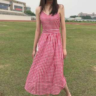 Korean Checkered Back Tied Midi Dress