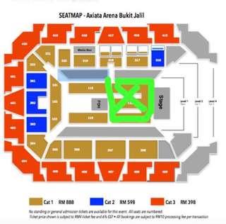 2tics CAT 1 Seat 118 Bruno Mars Concert