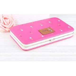 PIDANLU New style women's Small Flowers stylish Mobile Phone Wallet ROSE RED - chic