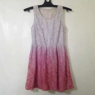 Pink ombre lace dress