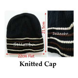 Warmth : Knitted Hats Sellzabo Black Colour Cold Warm Head Winter Accessories