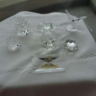 Swarovski Silver Crystal 6 pieces animal with plate (024a-g)