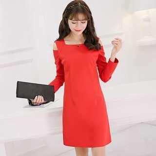 Women's Korean Style Long Sleeve Showing Thin Shoulder Dress