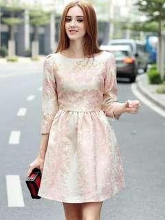 Formal: Pink Charming Gilding Jacquard High Waist Bubble Dress (S / M / L / XL) - OA/YZC101004