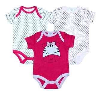 Rompers - Baby G Pink Zebra 3 Pcs Romper Set