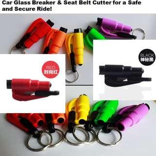 Car door glass breaker and seat belt cutter
