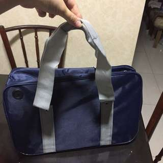 Japanese School Bag Blue w Grey Straps