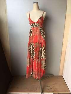 豹紋雪紡拼接細肩紅洋裝