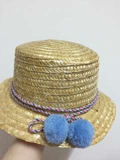 彩色緞帶毛球草帽圓帽