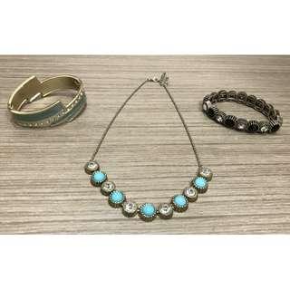 復古年代黑白鑽手鍊+Tiffany湖綠藍鑽項鍊+湖綠帶鑽扣環手環