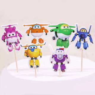 ✈️ Super Wings party supplies - dessert toppers / cupcake toppers / party deco 3.80
