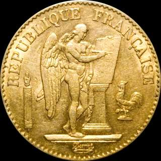 Gold 20 Francs Angel Writing 1878 A AU