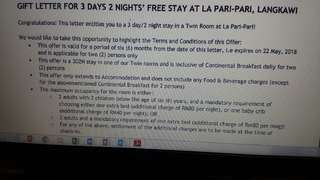 Voucher 3 days 2 nights with 2 breakfast at La Pari Pari, langkawi