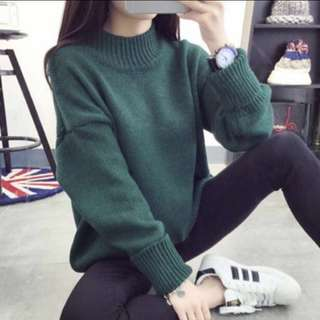 Green Turtleneck Knit Sweater Top